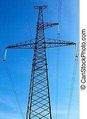blå, fodra, sky, high-voltage, bakgrund
