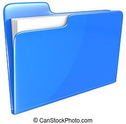 blå, folder.