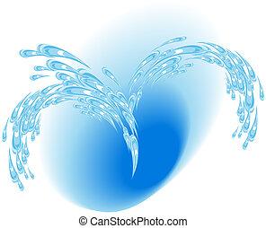 blå, fontän