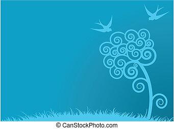 blå, forår, baggrund