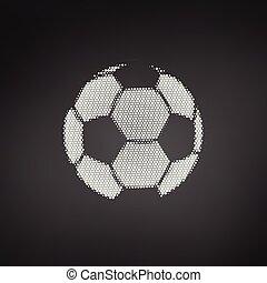 blå, fotboll, dots., flygning, isolerat, illustration, halftone, vektor, bakgrund, vit, fotboll, ball.