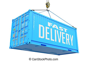 blå, frakt, container., -, hastig leverans, hängande