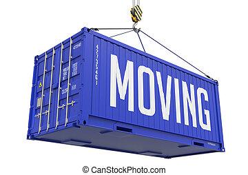 blå, frakt, container., -, kunglig, gripande, hängande