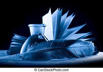 blå, fulde, bog, flaske, blæk, fjer