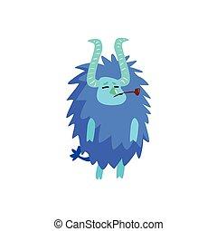 blå, furry, barnslig, monster