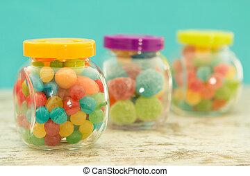 blå, Fyllda, tre, glas,  jellybeans, bakgrund, Krukor