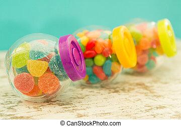 blå, Fyllda, tre, glas,  jellybeans, bakgrund, Behållare