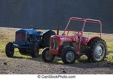 blå, gammal, island, två, traktorer, traktor, röd