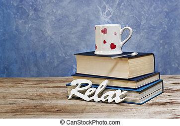 blå, gammal, kopp, Trä, Årgång, koppla av, bakgrund, form, böcker, hjärtan, ord, vit, bord
