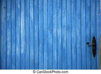 blå, gammal, trä dörr, specificera, med, handtag