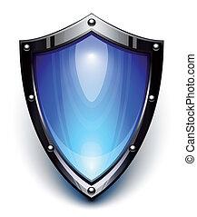 blå, garanti, skjold