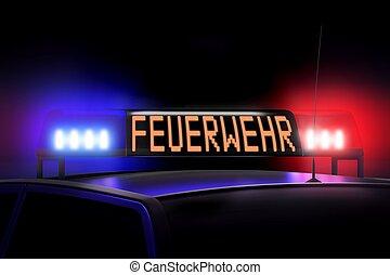 blå, (german), firefigters, firefighters, -, /, lys, rød, (...