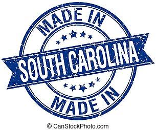 blå, gjord, stämpel, årgång, runda, södra carolina