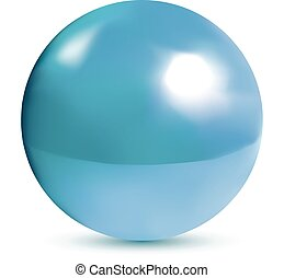 blå, glänsande, photorealistic, klot