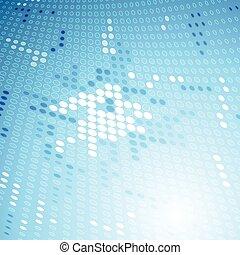 blå, glänsande, tech, bakgrund