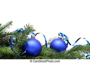 blå, glödlampor, jul
