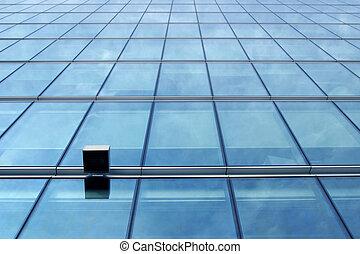 blå glas, mur