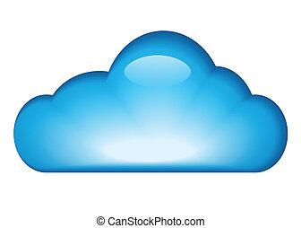 blå, glatt, moln