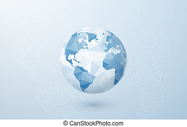 blå glob, abstrakt, planet., map., illustration, skapande, polygonal, vektor, bakgrund, värld, mull, concept.