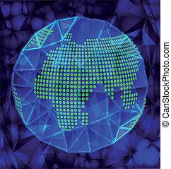 blå glob, polygonal