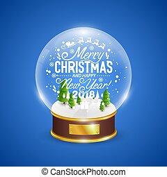 blå glob, snö, träd, bakgrund, jul