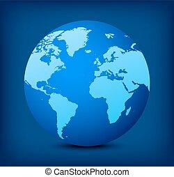 blå glob, vektor, bakgrund, ikon