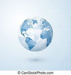 blå, globe., klot, map., isolerat, illustration, skapande, polygonal, vektor, bakgrund, värld, mull, concept.