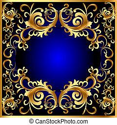 blå, gold(en), mönster, ram, årgång, grönsak