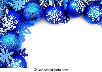 blå, gräns, julbauble