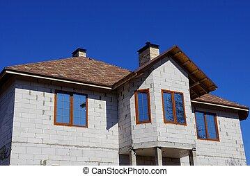 blå, grå, brun, fönstren, hus, sky, tak, del, mot, under, tegelsten, tegeltäckt