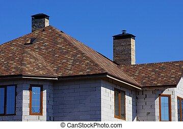 blå, grå, brun, fönstren, hus, sky, tak, mot, under, fasad, tegelsten, tegeltäckt