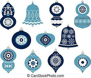 blå, grå, designs., hälsning, elegant, färger, vektor, agremanger, kort, helgdag, jul