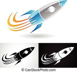 blå, grå, raket, ikon