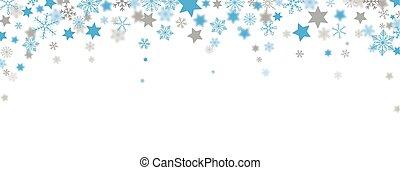 blå, grå, snöflingor, rubrik, stjärnor, jul