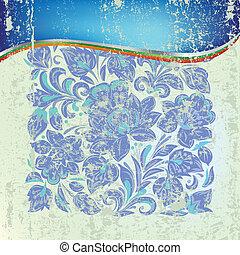 blå, grunge, abstrakt, prydnad, grön fond, blommig