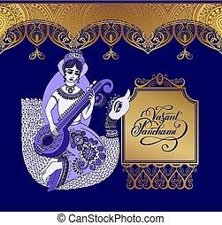 blå, gylden, mønster, -, panchami, mørke, blomstrede, vasant