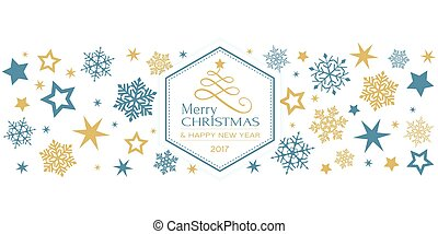 blå, gyllene, snöflinga, gräns, med, god jul, typografi