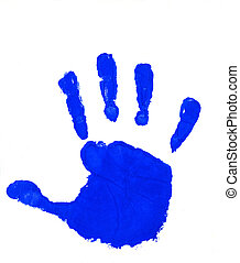 blå, hånd