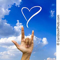 blå, hånd, gesturing, sky.