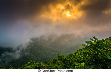 blå, höjdpunkt, genom, sett, dimma, klippig, befria, solnedgång