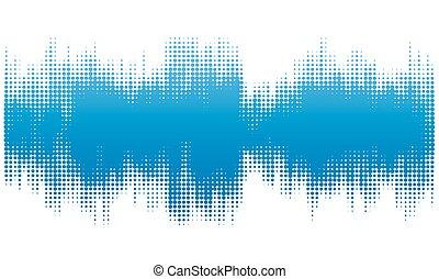 blå, halftone, sammandrag formge, bakgrund, in, den, bilda, av, wave.