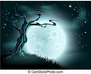 blå, halloween, träd, bakgrund, måne