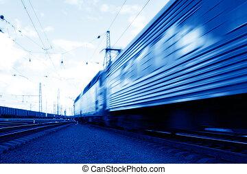 blå, hastighed, tog