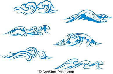 blå, hav, bølger