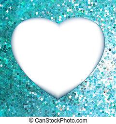 blå, heart., ramme, eps, facon, 8
