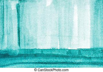 blå, heminredning, vattenfärg, begrepp