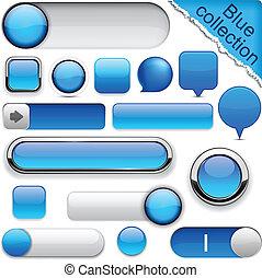 blå, high-detailed, moderne, buttons.