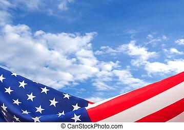 blå himmel, amerikansk. flag, baggrund, grænse