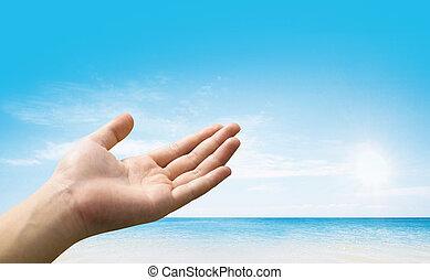 blå himmel, hænder