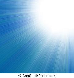 blå himmel, hos, en, glød